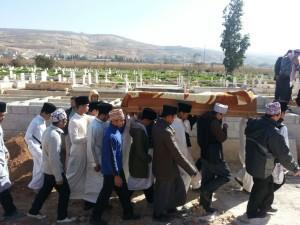 Jenazah sedang diusung di perkuburan Ain Basya, Jordan